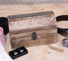 Saravati Mango Wood Chest Storage Box Lime Wash Finish Metal Detail Home Gift