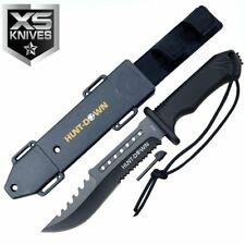 "12"" Hunt Down Hunting Survival Fixed Half Serrated Blade Army Bowie Knife Sheath"