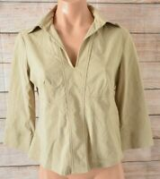 Cue Top Stretch Blouse Shirt Size 12 Medium Nude beige 3/4 Sleeve