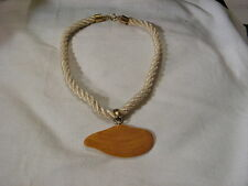 ...Vintage Rope,Carved Amber Bakelite(tested) Clam Shell Pendant Necklace...
