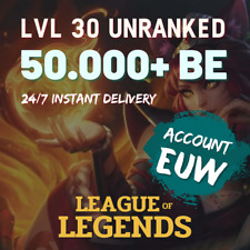 League of Legends Account EUW 50.000+ BE Lol Smurf Lvl 30+ UNVERIFIED Unranked