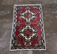 Handmade Red Turkish Vintage Medallioned Small Size Rug, 1.44x3.41 ft