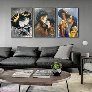 African Art Lover Woman Abstract Kiss Oil Painting Canvas Wall Pictures Decor