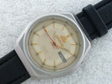 VINTAGE ORIENT AUTOMATIC 21 Jewels ENG SPANISH double date Steel Serviced watch