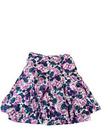Garnet Hill Blue Purple White Floral Pleated A-Line Skirt Size 14