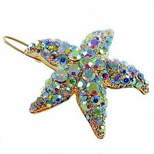 Hair Clip use Swarovski Crystal Hairpin Starfish Seastar Mermaid Gold AB Elegant