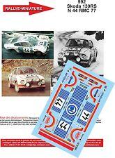 DÉCALS 1/24 réf 992 Skoda 130RS N 44 MONTE CARLO 1977