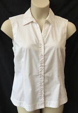 Rockmans Size 16 Shirt Top Blouse White Sleeveless Collar Corporate Work Casual