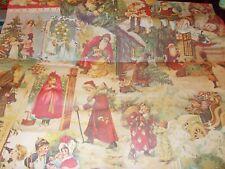 New ListingVtg Christmas Wrapping Paper Gift Wrap Victorian Santa Trees Children Dolls Nos