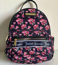 NEW! JUICY COUTURE VARSITY BLOOMS BLACK ROSE PRINTED BACKPACK BAG PURSE $89 SALE