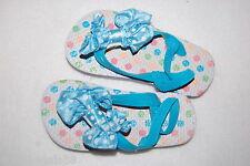 Toddler Girls Flip Flops Ankle Strap Polka Dot Turquoise Strap Bow Size L 9-10