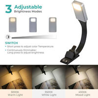 Clip-on Reading Light Lamp Flexible USB Rechargeable for eBook Readers Books