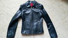 New John Richmond Ladies Womens Black Soft Leather Biker Style Jacket Size 8