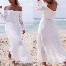 Mujer Niña Casual Verano Boho largo fiesta de noche Playa Vestido Blanco