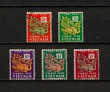 (YYAZ 384) Vietnam 1952 MNH, MLH, USED  Mich 1 - 5 Scott J1 - J5 DUE, Porto Lion