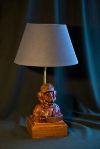 "Handmade desk lamp ""Mr.Dachshund - bust"", a carved rare wood"