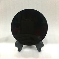1*Natural Black Obsidian Circle Disk Round Plate Crystal Fengshui Decor / Stand
