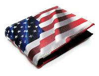 USA Flag Printed Genuine Leather Design Cash Card ID Slots Men's Bifold Wallets
