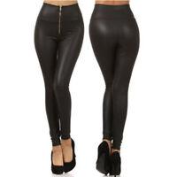 Women Zipper Stretch PU Leather Trousers Skinny High Waist Leggings Pencil Pants