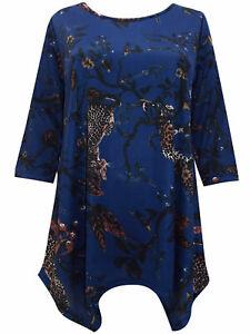T-Shirt Bluse Shirt Longshirt Top Longtop blau-gemustert Gr. 50/52 Neu