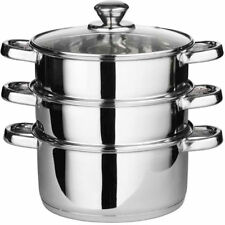 22CM MULTI STEAMER 3 TIER STAINLESS STEEL VEG COOKER POT PAN SET AND GLASS LID