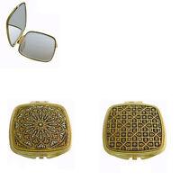 Damascene Gold Square Compact Mirror Geometric Design by Midas of Toledo Spain