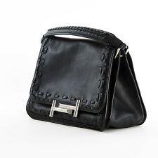 TOD'S Double T Black Small Satchel Women's Leather Handbag XBWAMUYY201