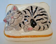 Vintage Hand Painted Smiling Tabby Cat Napping on Pillow Decor Planter Vase Lbk