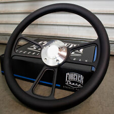"""14"""" Black Half Wrap Steering Wheel with Black Wrap for Chevy Muscle C10 Ford"""