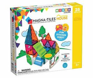 BRAND NEW Magna-Tiles House with Stickers 28 pcs Magnetic Blocks Kids Educ Toys
