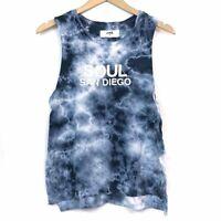 SOUL SOULCYCLE Blue White Tie Dye San Diego Cali California Logo Tank Top Medium