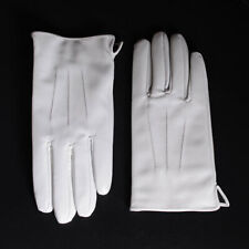 Men's GENUINE Leather Real Leather Winter Warm Army White Short Gloves