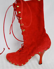 Auth Vintage Manolo Blahnik Red Stud Laceup Bootie Clog 80s 90s Boots 36 6 5.5