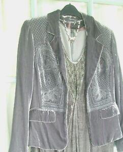 WRAP, LONDON (Poetry) Silk Velvet embroidered Jacket 14 Grey-soft Romantic look