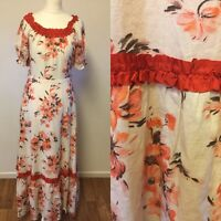 Vintage Cotton Maxi Dress Flower Power size uk 8 Prairie Boho 70s Hippy Gypsy