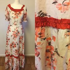 Vintage Cotton Maxi Dress Flower Power size uk 8 Festival  Boho 70s Hippy Gypsy
