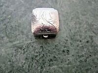 "VINTAGE STERLING SILVER 925 SMALL MINI PILL BOX SQUARE 3/4"" X 3/4"""