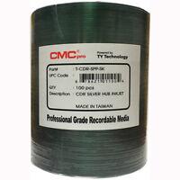 100 CMC Pro Taiyo Yuden (TCDR-SPP-SK) 52X CD-R Silver Inkjet Hub Printable Media