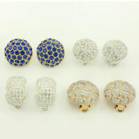 Vintage Roman Pave RHINESTONE EARRING LOT OF 4 Silver-tone Gold-tone Clip On