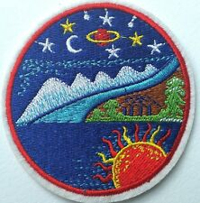 Sun Moon Stars Embroidered Patch Iron On Saturn UFO Planets Happy Wilderness