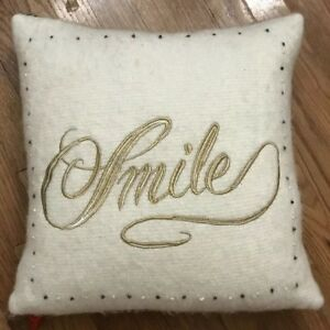 Anthropologie SMILE Nubby Wool Graphic Square Pillow Cover 20x20 Sold Out Anthro