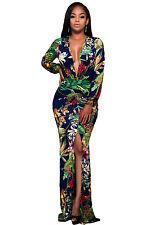 Plunging V Neck Floral Print Front Slit Long Sleeve maxi Dress  size UK 8-10