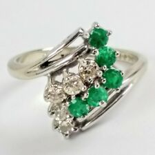 Estate 14K Solid Yellow Gold Emerald Diamond Waterfall Cluster Ring Size 6.25
