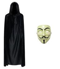 Tipo anónimo de V de VENGANZA Máscara de Halloween Disfraz de Rostro Crema + Capa Con Capucha