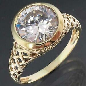 Big & Bold 14k Solid Yellow GOLD Cubic Zirconia SOLITAIRE FILIGREE RING Lgr Sz T