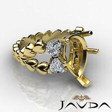 Natural Diamond Engagement Ring 14k Yellow Gold 1C Heart & Pear Shape Semi Mount