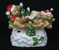 Vintage Christmas Bears Teeter-Totter Porcelain Music Box * Excellent Condition!