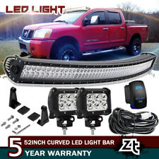 "50"" Curved LED Light Bar Combo+4"" Pods Cube For 2004-14 Nissan Titan Upper Roof"