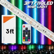 3ft RGB Lighted Antenna LED Whip Light Flag Remote For Polaris RZR ATV 4 Wheeler