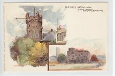 AK Rüdesheim, Adlerturm und Brömserburg, Künstler-Litho 1900